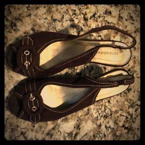 Suede Dark Brown Peep Toe Heels
